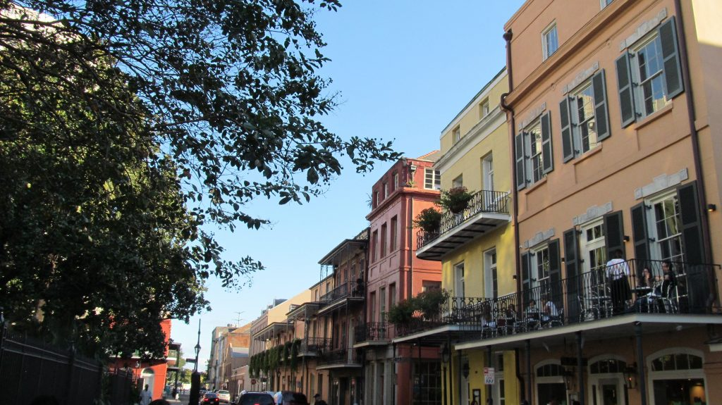 New Orleans street view of balconies
